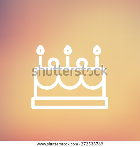 Birthday cake with candle icon thin line for web and mobile, modern minimalistic flat design. Vector white icon on gradient mesh background. - stock vector