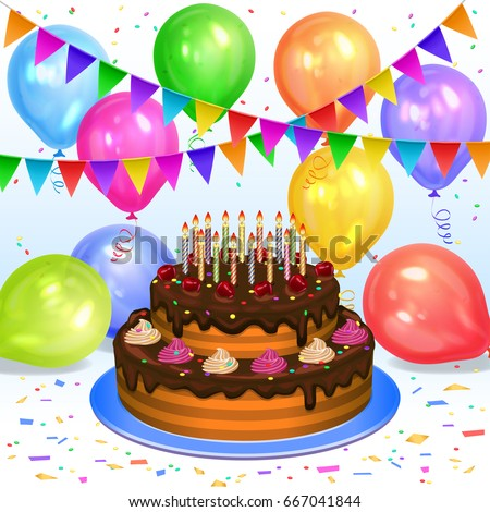 Birthday Cake Candles Colorful Balloons Confetti Stock Vector HD