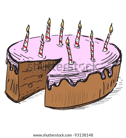 Birthday cake candles hand drawing cartoon stock vector 93138148 birthday cake with candles hand drawing cartoon sketch illustration in childish doodle style sciox Image collections