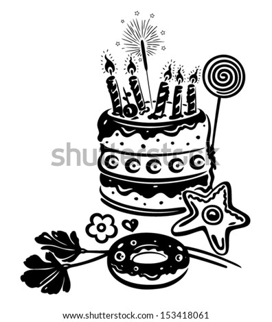 Birthday cake, with decoration - stock vector