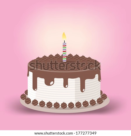 birthday cake with one lit candle - stock vector