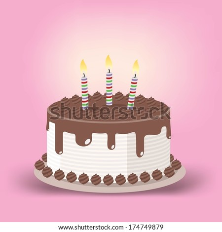 birthday cake with three lit candles  - stock vector