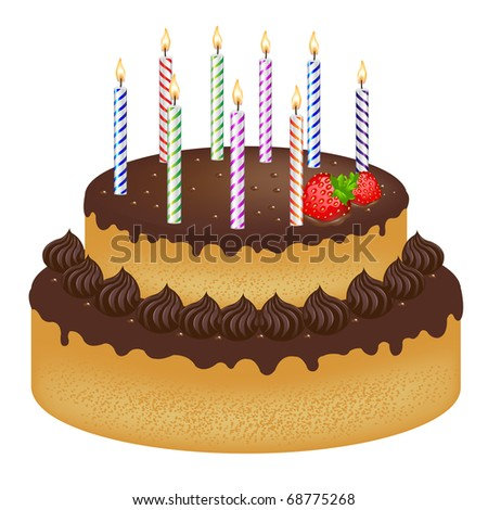 Birthday Cake With With Strawberry And Color Candles, Isolated On White Background, Vector Illustration - stock vector