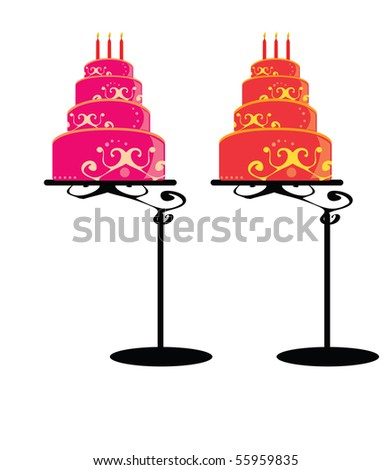 Birthday cakes on stands 1 - vector