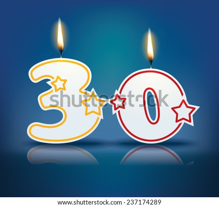 Birthday candle number 30 with flame - eps 10 vector illustration - stock vector