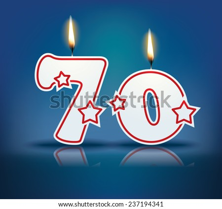 Birthday candle number 70 with flame - eps 10 vector illustration - stock vector