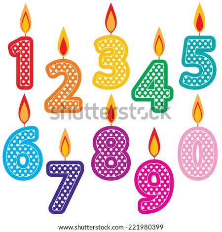 Birthday Candles Clip Art Set. Colorful number Birthday cake candles graphics created using vector software. - stock vector