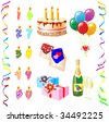 Birthday candles for any age. Set Icon «Birthday Celebration». Things on white background. - stock vector