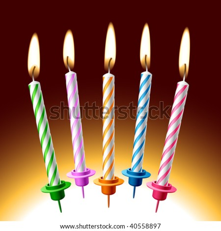 Birthday candles. Vector illustration. Place on your cake. - stock vector