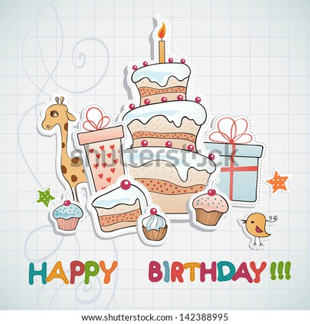 Birthday card. - stock vector