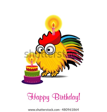 Birthday cardbirthday cakevector funny happy birthday stock vector birthday cardbirthday cakevector funny happy birthday card with funny rooster and cake bookmarktalkfo Gallery