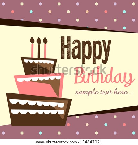 Birthday card, birthday cake with candles and decorations - stock vector