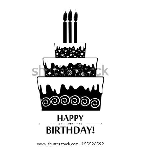 Birthday card black white cake isolated stock illustration birthday card black and white cake isolated on white background vector illustration bookmarktalkfo Images