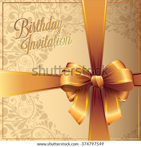 Birthday card design and invitations with ribbons. Vector background. illustration  - stock vector