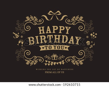 Birthday card design vintage style template - stock vector