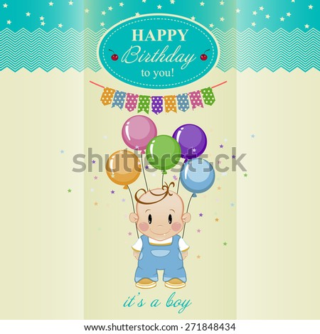 Birthday Card Boys Birthday Vector 271848434 Shutterstock – Birthday Card for Boy