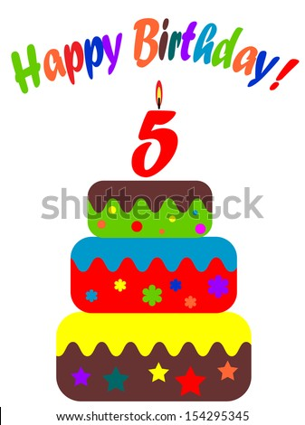 Birthday card , for  five years - stock vector