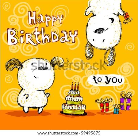 Birthday card, friends. - stock vector