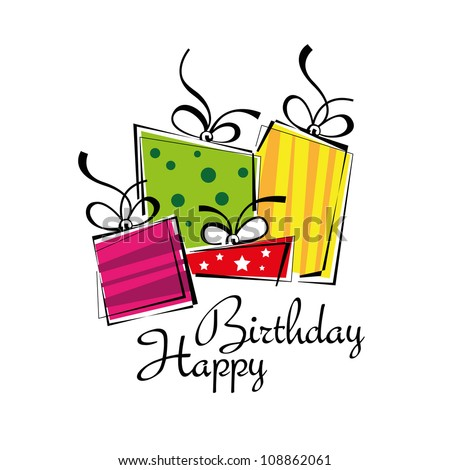 Birthday card, gift card, gifts ideal for Christmas - stock vector