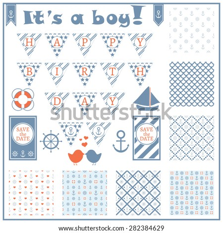 Birthday card in a marine style. Baby boy arrival card. Baby shower card. Sea theme garland. Set of sea objects. Seven seamless patterns. Vector illustration.  - stock vector