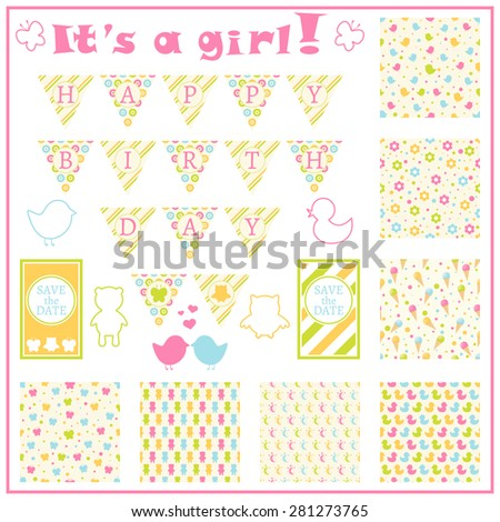 Birthday card in colorful style. Baby girl arrival card. Baby shower card. Colorful theme garland. Set of objects. Seven seamless patterns with birds, flowers, icecreams and other. Vector illustration - stock vector