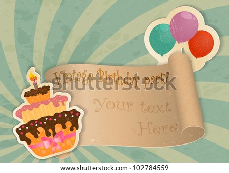 Birthday card in vintage style with cake and balloons made of paper - stock vector