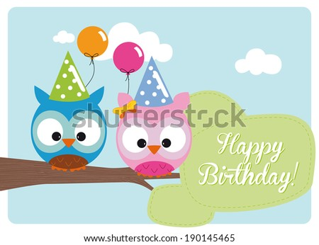birthday card, little cute owls with hats and balloons on branch for the birthday party in a sunny day - stock vector