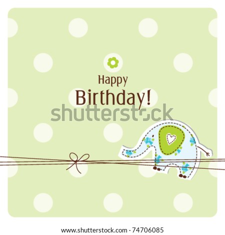 Birthday card,  Nice Greeting card - template Cute simple Artistic hand drawn illustration - doodle For baby shower, greetings, invitation, mother's day, birthday, party, wedding, scrapbook project - stock vector