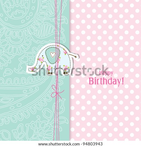 Birthday card Nice Greeting card - template Cute simple Artistic hand drawn illustration - doodle For baby shower, greetings, invitation, mother's day, birthday, party, wedding - stock vector