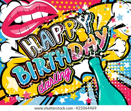 50s girl stock images royalty free images vectors shutterstock birthday card vector illustration with champagne lips and stars elements bookmarktalkfo Images