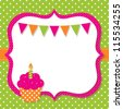 Birthday card with a cupcake, vector EPS10 - stock photo