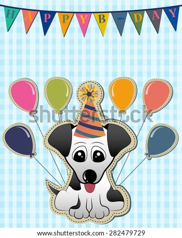 Birthday Card with a Cute Puppy Vector - stock vector