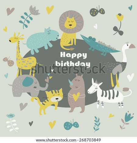 Birthday card with Africa animals.  Cute alligator, tiger, lion, elephant, rhino, hippo, ostrich and zebra in cartoon style. - stock vector