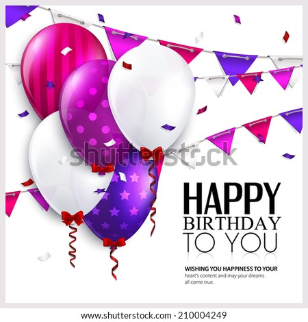 Birthday card with balloons and bunting flags. - stock vector