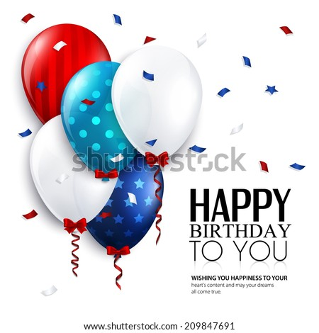 Birthday card with balloons and confetti. - stock vector