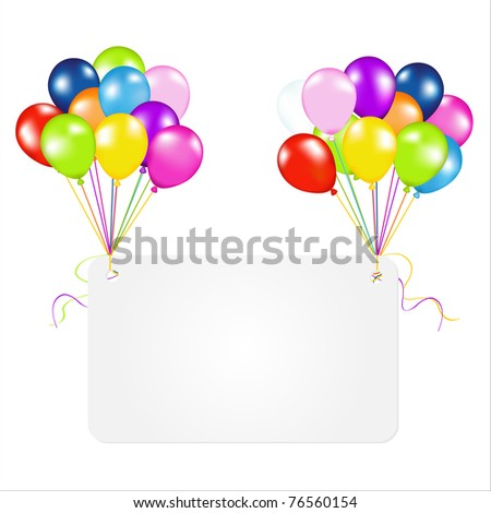 Birthday Card With Balloons, Isolated On White Background, Vector Illustration - stock vector