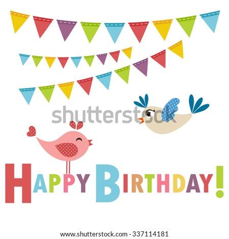 Birthday card with birds - stock vector