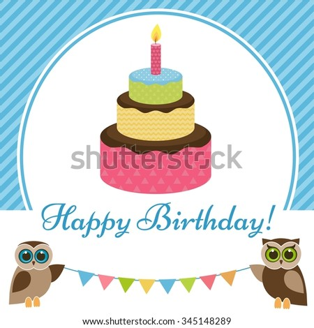 Birthday card with cake and owls - stock vector