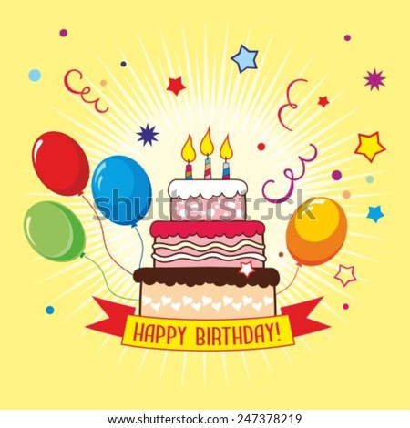 Cute Happy Birthday Greeting Card Cake Vector 435690295 – Vector Birthday Card