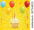 Birthday card with cupcake, balloons and confetti. EPS 8 CMYK with global colors vector illustration. - stock vector
