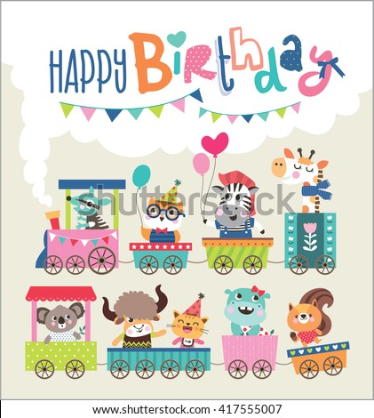 Birthday card cute animals on train stock vector 417555007 birthday card with cute animals on train bookmarktalkfo Image collections