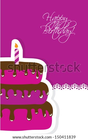 Birthday card with cute cake and candle - stock vector
