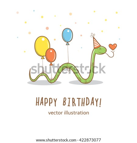 Birthday card cute cartoon snake party stock vector hd royalty free birthday card with cute cartoon snake in party hat and colorful balloons greetings from funny bookmarktalkfo Choice Image