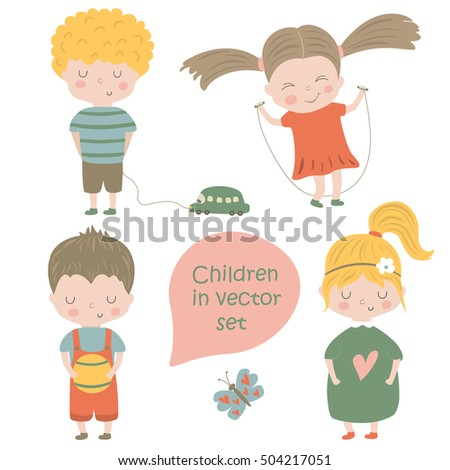 Birthday card with cute children, flowers, butterflies and balloons in cartoon style