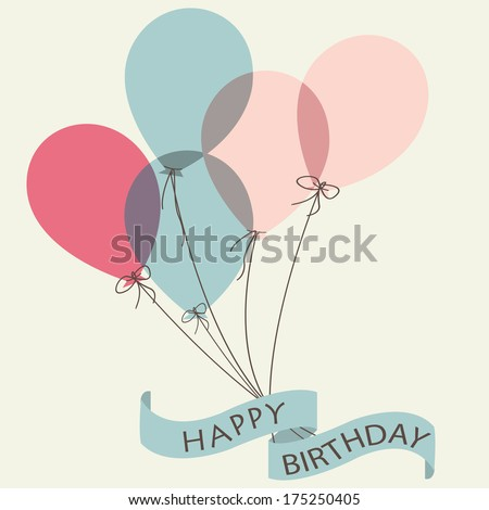 Birthday card with cute colorful balloons and ribbon. - stock vector