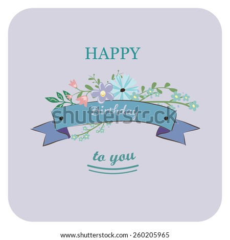 Birthday card with cute flowers - stock vector