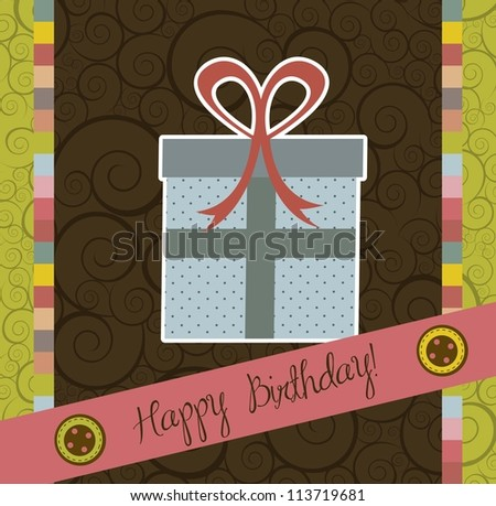 birthday card with cute gift, scrapbook. vector illustration - stock vector