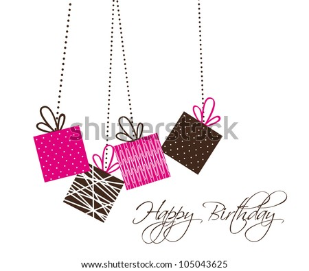 birthday card with cute gifts over white background. vector - stock vector
