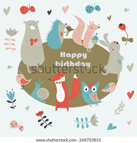 Birthday card with cute owl, bear, fox, hedgehog, birds, squirrel, rabbit, snail, butterflies and flowers in cartoon style - stock vector