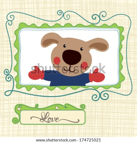 Birthday Card with cute teddy bear. Vector illustration - stock vector